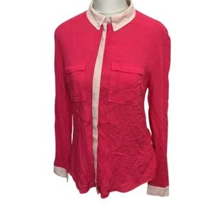 Maeve Anthro Pink Color Block Blouse Top